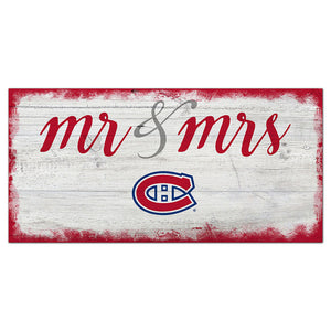 Montreal Canadiens Script Mr & Mrs 6x12 Sign