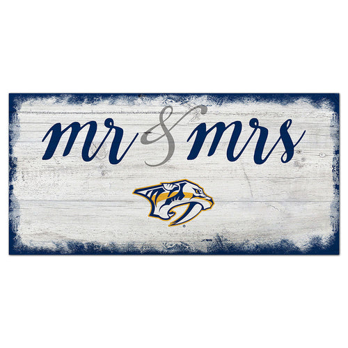 Nashville Predators Script Mr & Mrs 6x12 Sign