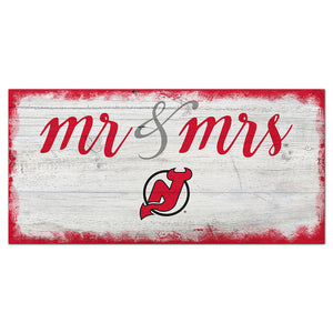 New Jersey Devils Script Mr & Mrs 6x12 Sign