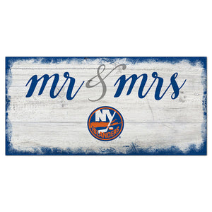 New York Islanders Script Mr & Mrs 6x12 Sign