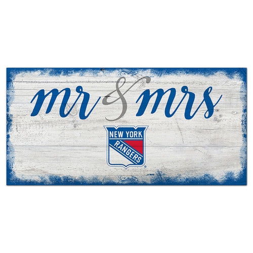 New York Rangers Script Mr & Mrs 6x12 Sign