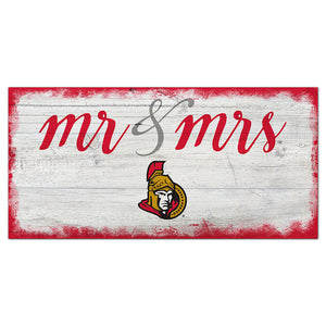 Ottawa Senators Script Mr & Mrs 6x12 Sign