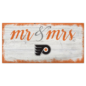 Philadelphia Flyers Script Mr & Mrs 6x12 Sign