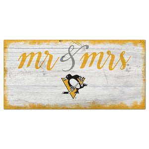 Pittsburgh Penguins Script Mr & Mrs 6x12 Sign