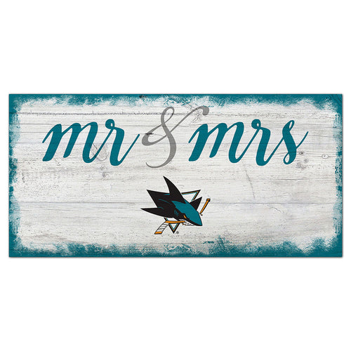 San Jose Sharks Script Mr & Mrs 6x12 Sign