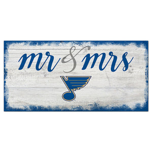 St.Louis Blues Script Mr & Mrs 6x12 Sign