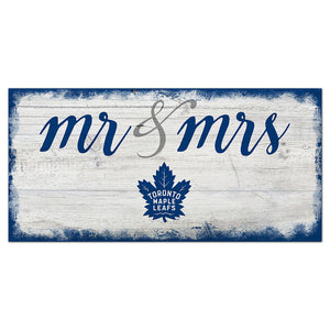 Toronto Maple Leafs Script Mr & Mrs 6x12 Sign