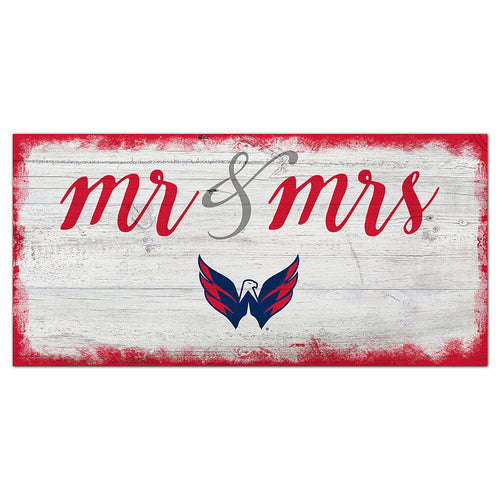 Washington Capitals Script Mr & Mrs 6x12 Sign