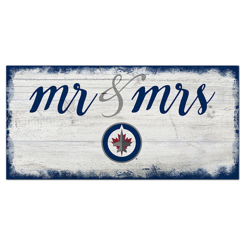 Winnipeg Jets Script Mr & Mrs 6x12 Sign