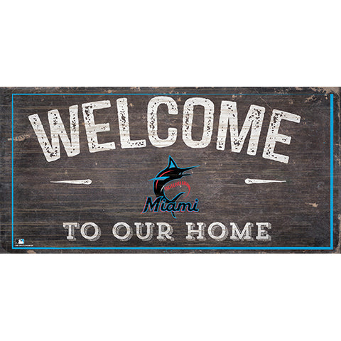 Miami Marlins Welcome Distressed Sign