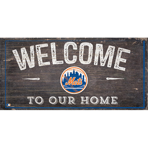 New York Mets Welcome Distressed Sign