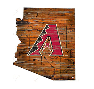 Arizona Diamondbacks 24in. Distressed State w/Logo Sign