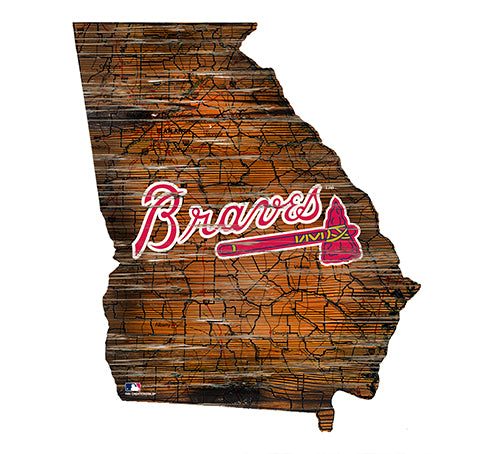 Atlanta Braves 24in. Distressed State w/Logo Sign