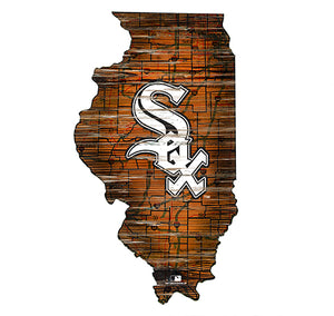 Chicago White Sox 24in. Distressed State w/Logo Sign