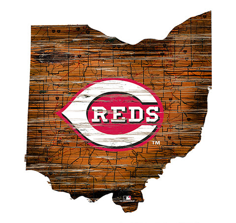 Cincinnati Reds 24in. Distressed State w/Logo Sign