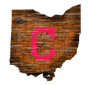 Cleveland Indians 24in. Distressed State w/Logo Sign