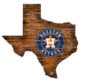 Houston Astros 24in. Distressed State w/Logo Sign