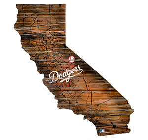 Los Angeles Dodgers 24in. Distressed State w/Logo Sign