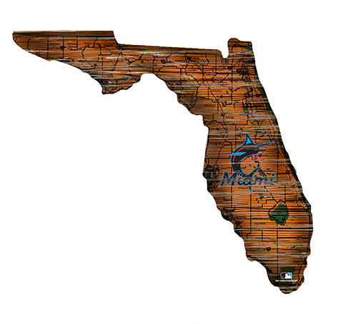 Miami Marlins 24in. Distressed State w/Logo Sign