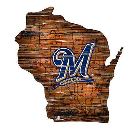 Milwaukee Brewers 24in. Distressed State w/Logo Sign