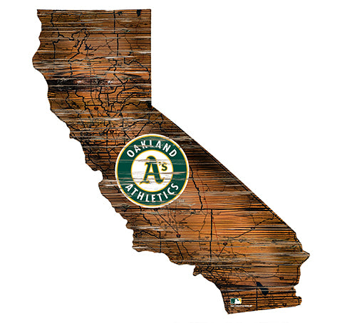 Oakland Athletics 24in. Distressed State w/Logo Sign