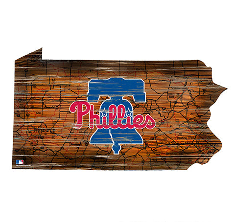 Philadelphia Phillies 24in. Distressed State w/Logo Sign