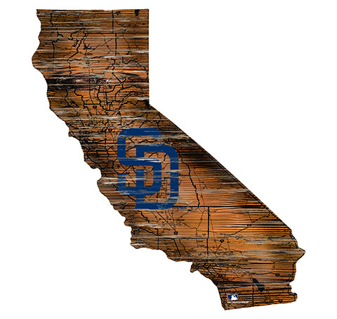 San Diego Padres 24in. Distressed State w/Logo Sign