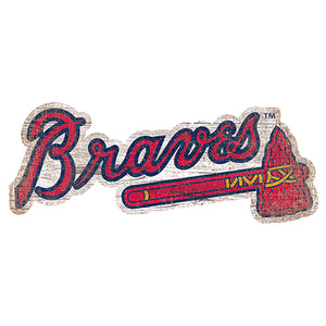 Atlanta Braves Distressed Logo Cutout Sign