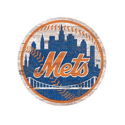 New York Mets Distressed Logo Cutout Sign