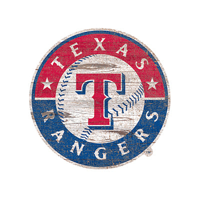Texas Rangers Distressed Logo Cutout Sign