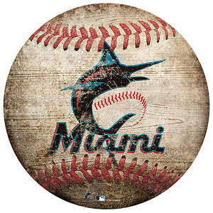 "Miami Marlins 12"" Baseball Shaped Sign"