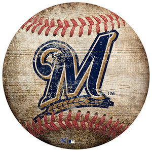 "Milwaukee Brewers 12"" Baseball Shaped Sign"