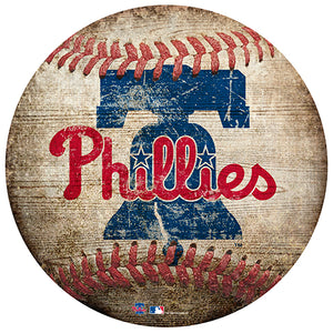 "Philadelphia Phillies 12"" Baseball Shaped Sign"