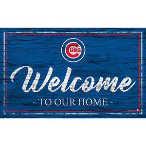 Chicago Cubs Team Color Welcome 11x19 Sign