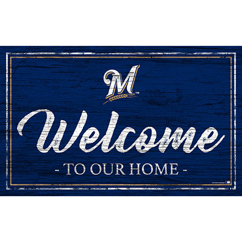 Milwaukee Brewers Team Color Welcome 11x19 Sign