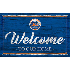 New York Mets Team Color Welcome 11x19 Sign