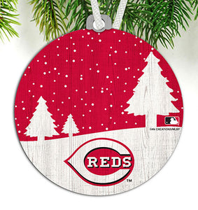 Cincinnati Reds Snow Scene Ornament