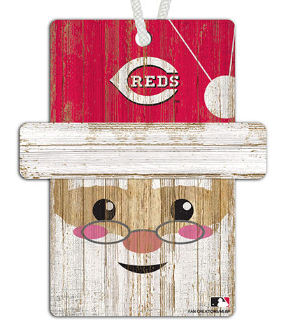 Cincinnati Reds Santa Ornament