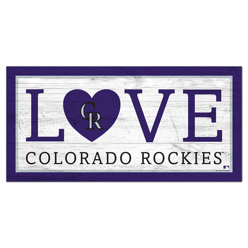 Colorado Rockies Love 6x12 Sign