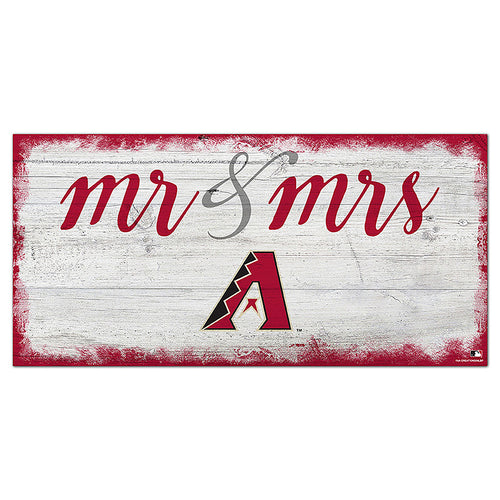 Arizona Diamondbacks Script Mr & Mrs 6x12 Sign