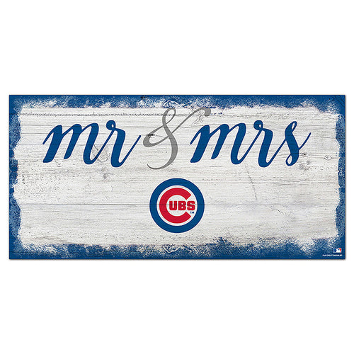Chicago Cubs Script Mr & Mrs 6x12 Sign