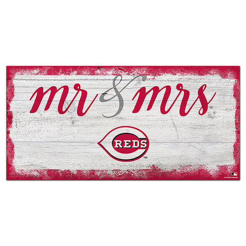 Cincinnati Reds Script Mr & Mrs 6x12 Sign