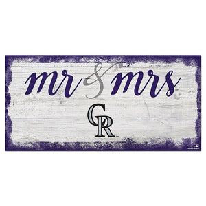 Colorado Rockies Script Mr & Mrs 6x12 Sign