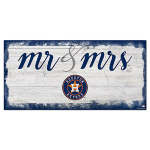 Houston Astros Script Mr & Mrs 6x12 Sign