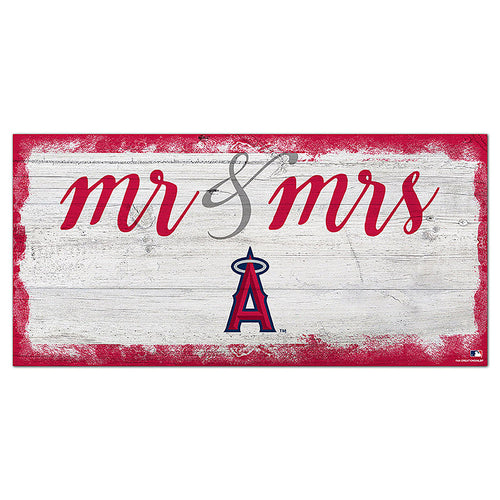 Los Angeles Angels Script Mr & Mrs 6x12 Sign