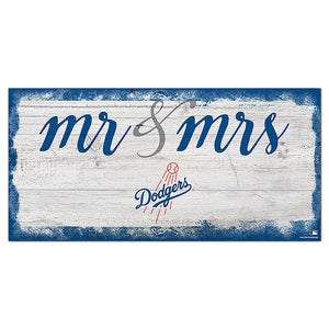 Los Angeles Dodgers Script Mr & Mrs 6x12 Sign