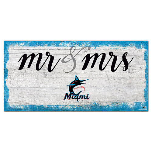 Miami Marlins Script Mr & Mrs 6x12 Sign