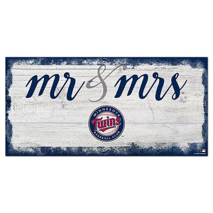 Minnesota Twins Script Mr & Mrs 6x12 Sign
