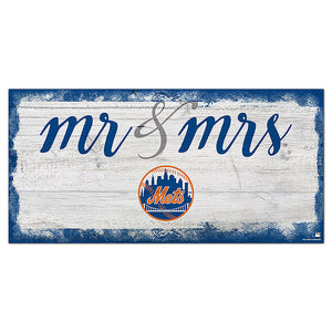 New York Mets Script Mr & Mrs 6x12 Sign