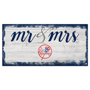 New York Yankees Script Mr & Mrs 6x12 Sign